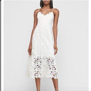 Endless Rose Crochet Lace White Midi Dress Large
